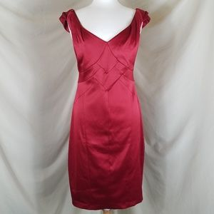 Dress Barn Collection Red Satin Cocktail Dress